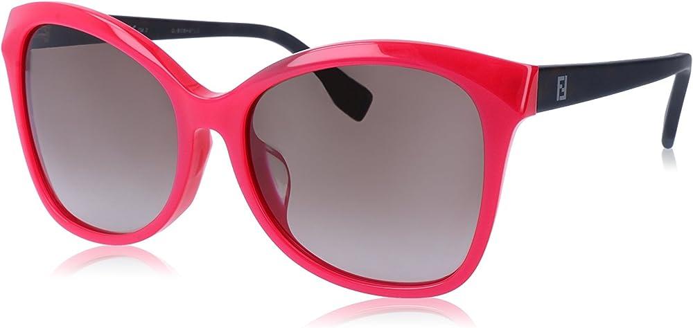 Fendi, occhiali da sole da donna, montatura in acetato, lenti marrone sfumato Fendi Sun FF 0043/F/S MHK/HA