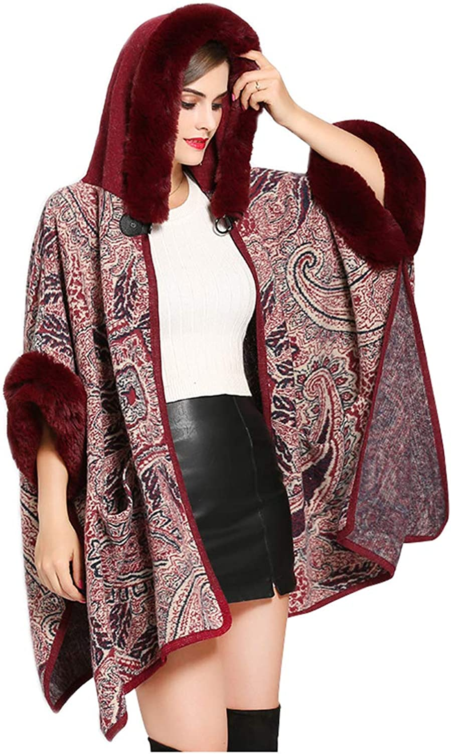 ALSKEN Women Faux Fur Poncho Winter Coat Shawl Cardigan Cloak Prom Shoulder Cape