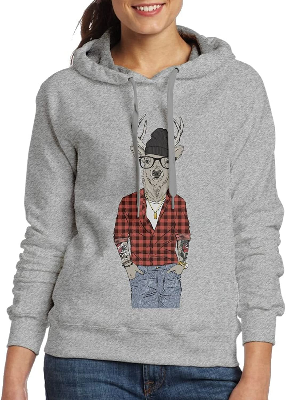 Fashion Deer Boy Wearing Red Plaid Shirt Womens Hoodie Sweatshirt For Fall Winter For Women