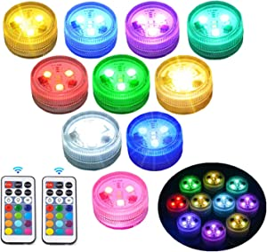 Mini Submersible Pool Led Lights - Waterproof Light with Remote Control for Lantern Pumpkin Puck Hot Tub Underwater Pond Fountain Aquarium Halloween and Christmas 10pcs