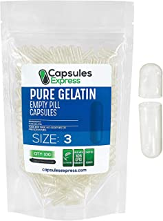 Capsules Express- Size 3 Clear Empty Gelatin Capsules 100 Count- Kosher and Halal - Pure Gelatin Pill Capsule - DIY Powder...