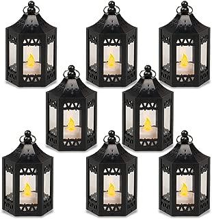 zkee Mini Star Lantern with Flickering LED,Battery Included,Decorative Hanging Lantern,Christmas Decorative Lantern,Indoor Candle Lantern,Battery Lantern Indoor Use, (Set of 8,Black)