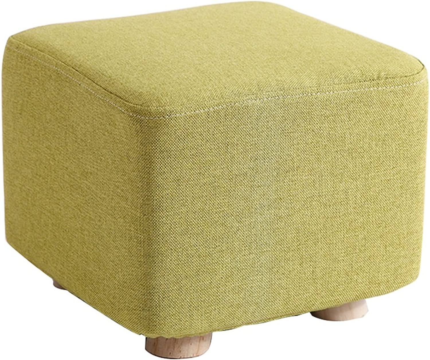 Stools Solid Wood Stool High Resilience Sponge You Can Open Clean Fashion Ideas 25× 20 cm Footstools (color   Green)
