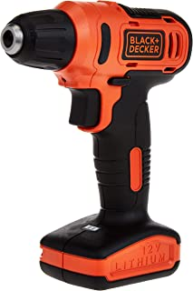 Black+Decker 12V 1.5Ah 900 RPM Cordless Drill Driver with 13 Pieces Bits in Kitbox For Drilling and Fastening, Orange/Blac...