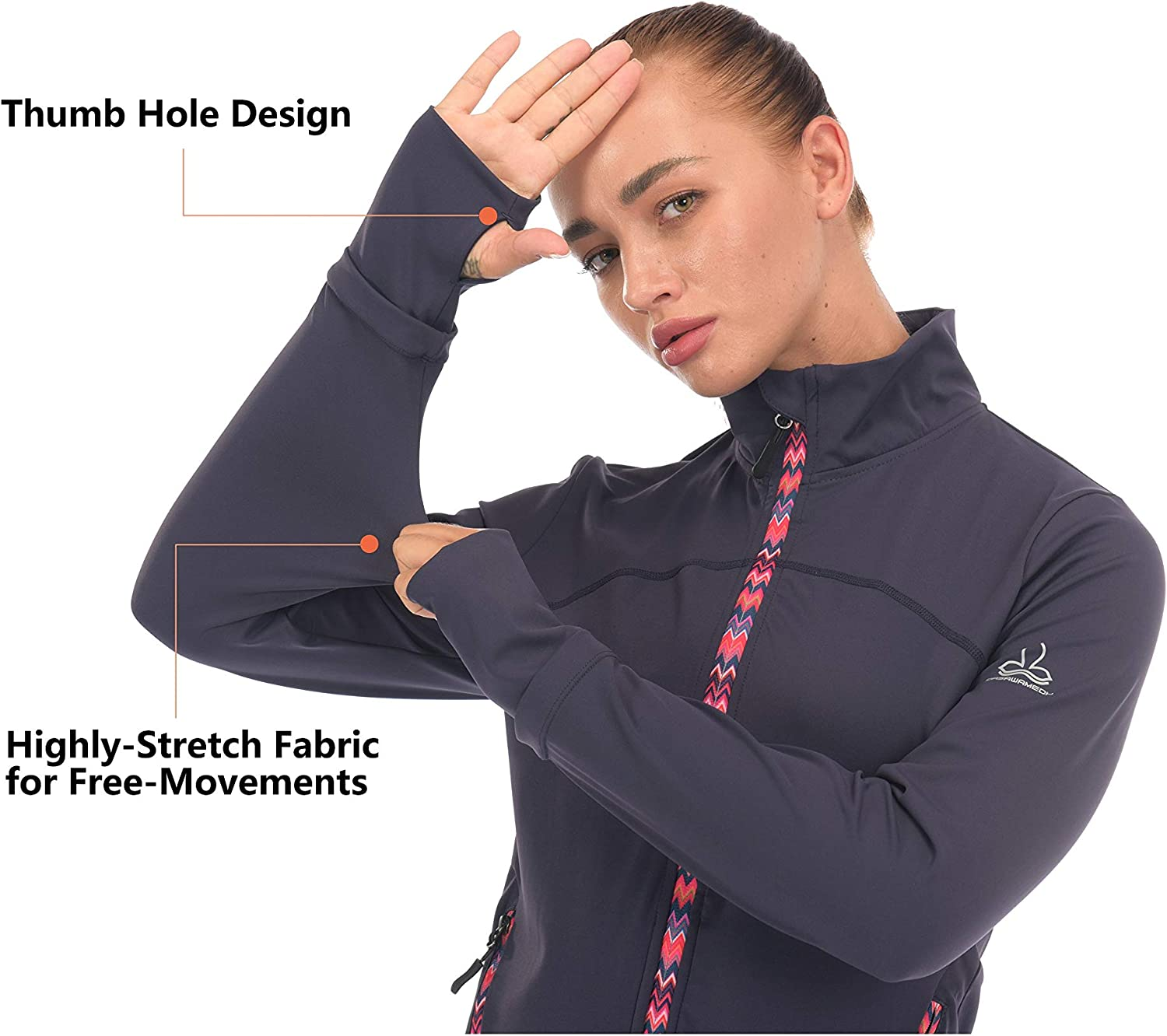Dasawamedh Womens Lightweight Running Track Jackets Stretch Yoga Workout Jackets with Thumb Holes