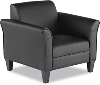 Alera ALE Reception Lounge Series Club Chair, Black/Black Leather