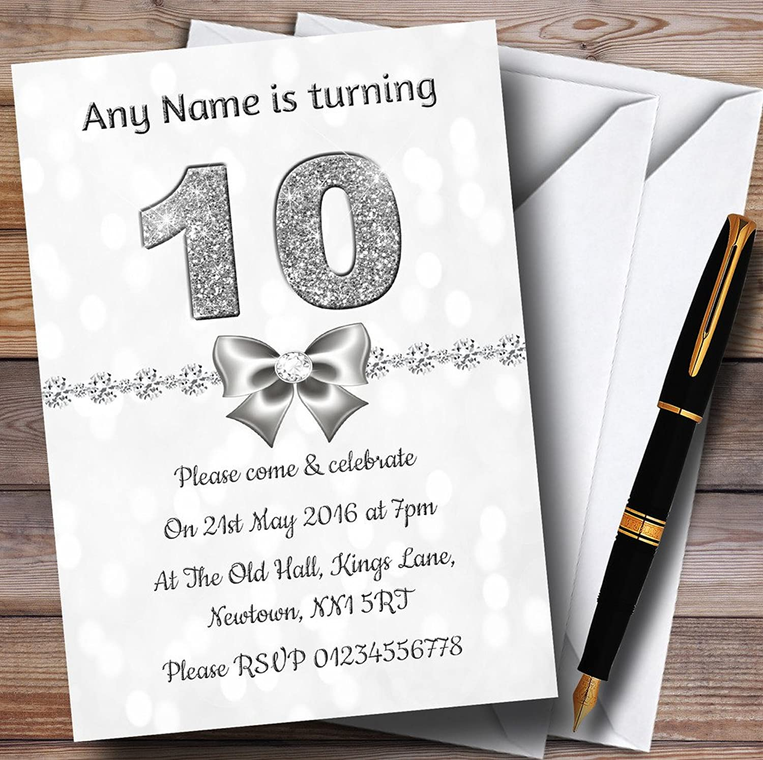 White Bokeh & Silver Glitter Look 10Th Personalised Birthday Party Invitations   Invites & Envelopes
