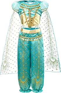 JiaDuo Girls Princess Jasmine Costume Party Halloween Dress Up
