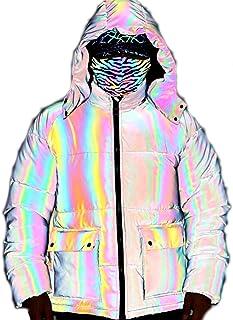 DUTUI Chaqueta acolchada acolchada para hombre, de invierno, colorida, reflectante, talla grande, con capucha, gruesa, hol...