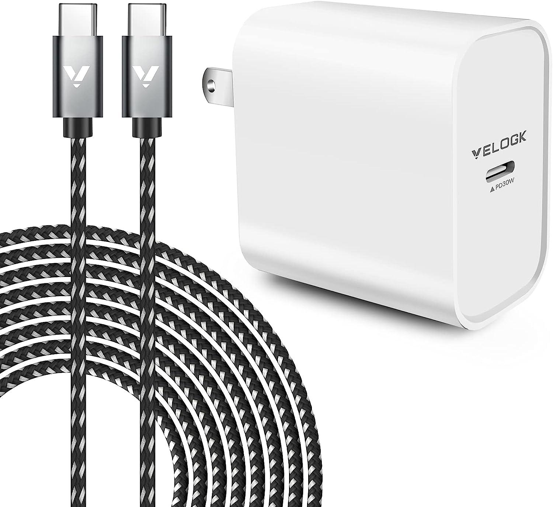 VELOGK 30W USB C Fast Charger [Full-Speed Charge]for 2021/2020/2018 iPad Pro 12.9 Gen 5/4/3, iPad Pro 11 Gen 3/2/1, iPad Air 4, MacBook Air 13 inch, MacBook 12, iPad Charger with 6.6ft USB C to C Cord