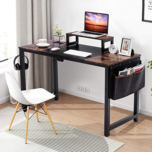 discount COSVALVE Computer Office Desk, 47'' Writing Study Table with Monitor Stand, online sale Storage Bag and Hook, Space Saving, Industrial Modern Simple Style PC Laptop outlet online sale Indoor outlet online sale