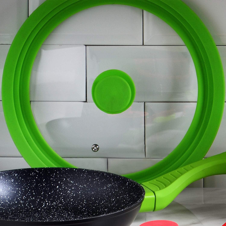 San Ignacio Q3254 Couvercle universel 24 26 28 cm verre en verre vert collection Jolie de la marque