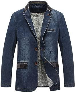 Man's Sports Notched Collar 2 Button Slim Distressed Denim Blazer Jacket Leather Trim