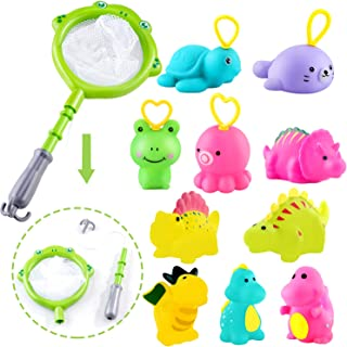 Sotodik 12 Pcs Bath Shower Toys Set for Baby with 10 Pcs Soft Cute Animals Float Squirt Bath Toys and 2in1 Fishing Net Too...
