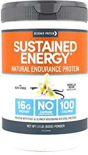 Designer Protein Sustained Energy, Vanilla Bean, 1.5 Pound, Endurance Protein Powder