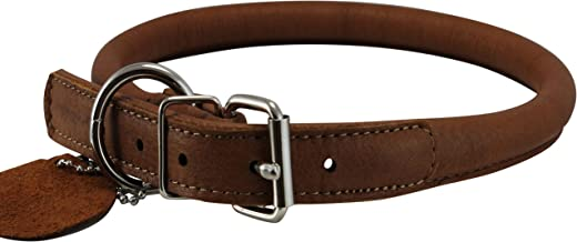 Genuine Leather Rolled Dog Collar 17.5