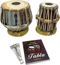 Satnam BRASS Bayan Hand Crafted Professional Brass Tabla Drum Set with Brass Tabla Set Gig Bag | Tabla Set Hammer | Tabla Set - Music Book | Tabla Cushions and Cover - Indian Musical Instrument