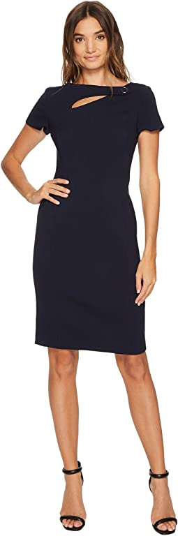 Vince Camuto - Crepe Short Sleeve Bodycon w/ Cut Out