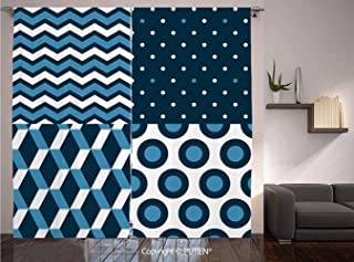 Thermal Insulated Blackout Window Curtain [ Navy Blue Decor,Marine Print Collection with Simple Vertical Horizontal Zigzag Dotted Patterns,White Dark Blue ] for Living Room Bedroom Dorm Room Classroom