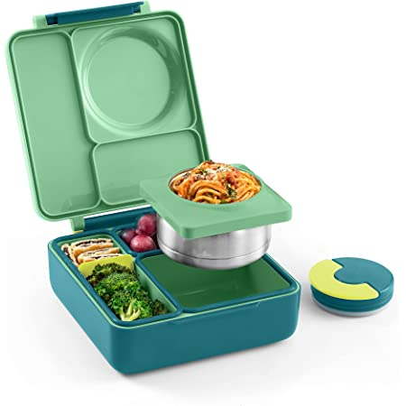 OmieBox Bento Box for Kids - Insulated Bento Lunch Box with Leak Proof Thermos Food Jar - 3 Compartments, Two Temperature Zones - (Meadow) (Single) (Packaging May Vary)