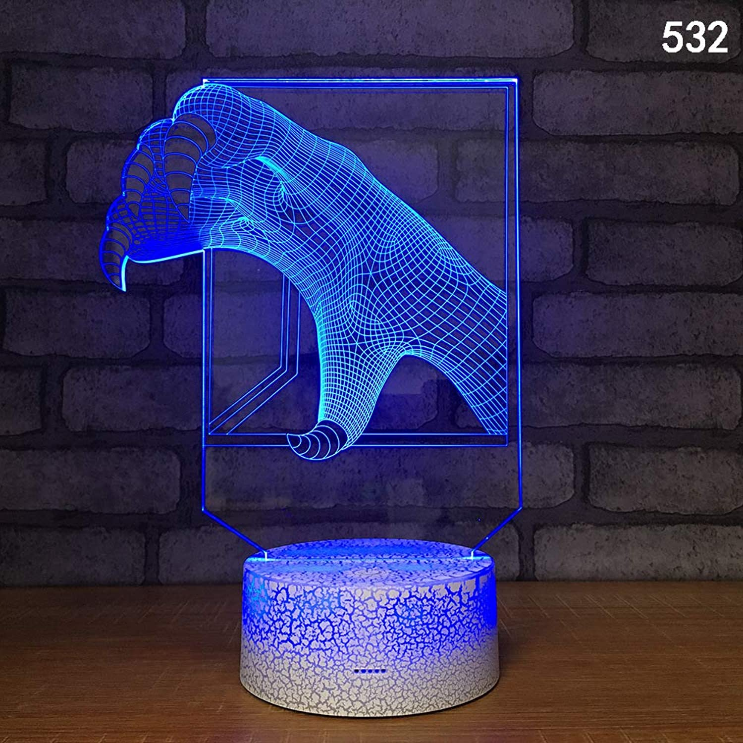 DZXGY Life Like Dinosaur 7 color Illusion led Touch Night Light 3D Touch Screen Control led Gradient Night Light x-mas Gift Bedroom Decoration,M