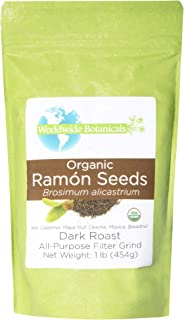 Worldwide Botanicals Organic Ramón Seeds – Dark Roast - AKA Capomo, Ojoche, Maya Nut, Bread Nut, Mojo, Masica - Ground Coffee Alternative, Gluten-Free, Kosher, Brew Like Coffee! 1 lb