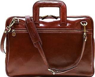 Floto Firenze Slim Leather Briefcase Attache Messenger Bag Small (Vecchio Brown)
