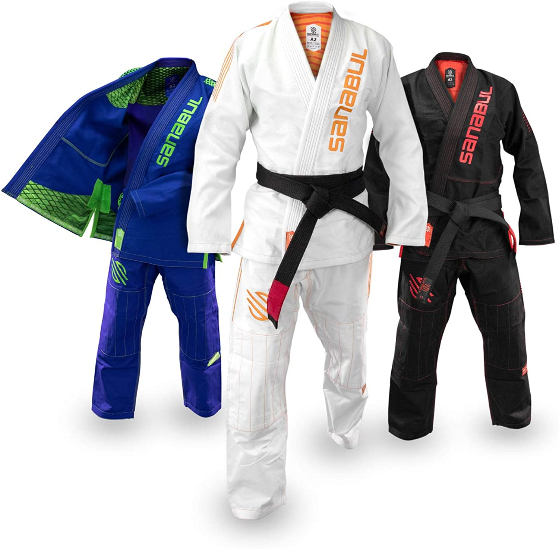 (A0, White)  Sanabul Highlights Professional Competition BJJ Jiu Jitsu Gi IBJJF APPROVED