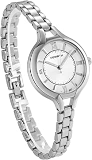 Classy Large Face Watch with Thin Silver Bracelet Band Women Wristwatch for Mothers Day Gift Free Customized Engraving