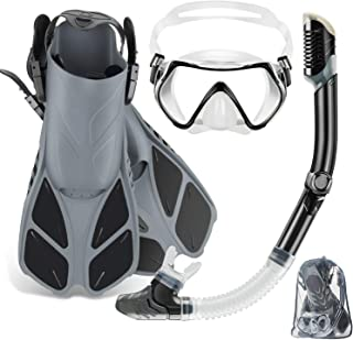 ZEEPORTE Mask Fin Snorkel Set with Adult Snorkeling Gear, Panoramic View Diving Mask, Trek Fin, Dry Top Snorkel +Travel Ba...