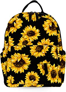 Durable Small Backpack for Women Polyester Mini Backpack Kids Backpack School College Students Backpack for Young Girls and women (Sunflower)