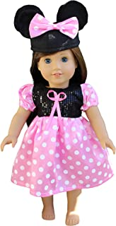 in-Style Compatible with American Girl Doll Clothes Accessories for 18 inch Dolls and Our Generation Doll Accessories Minnie Mouse Dress with Mickey Mouse Ears hat (Minnie Mouse Pink )