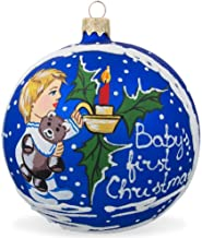 BestPysanky Baby's First Christmas, Boy with Teddy Bear Glass Ball Christmas Ornament 4 Inch