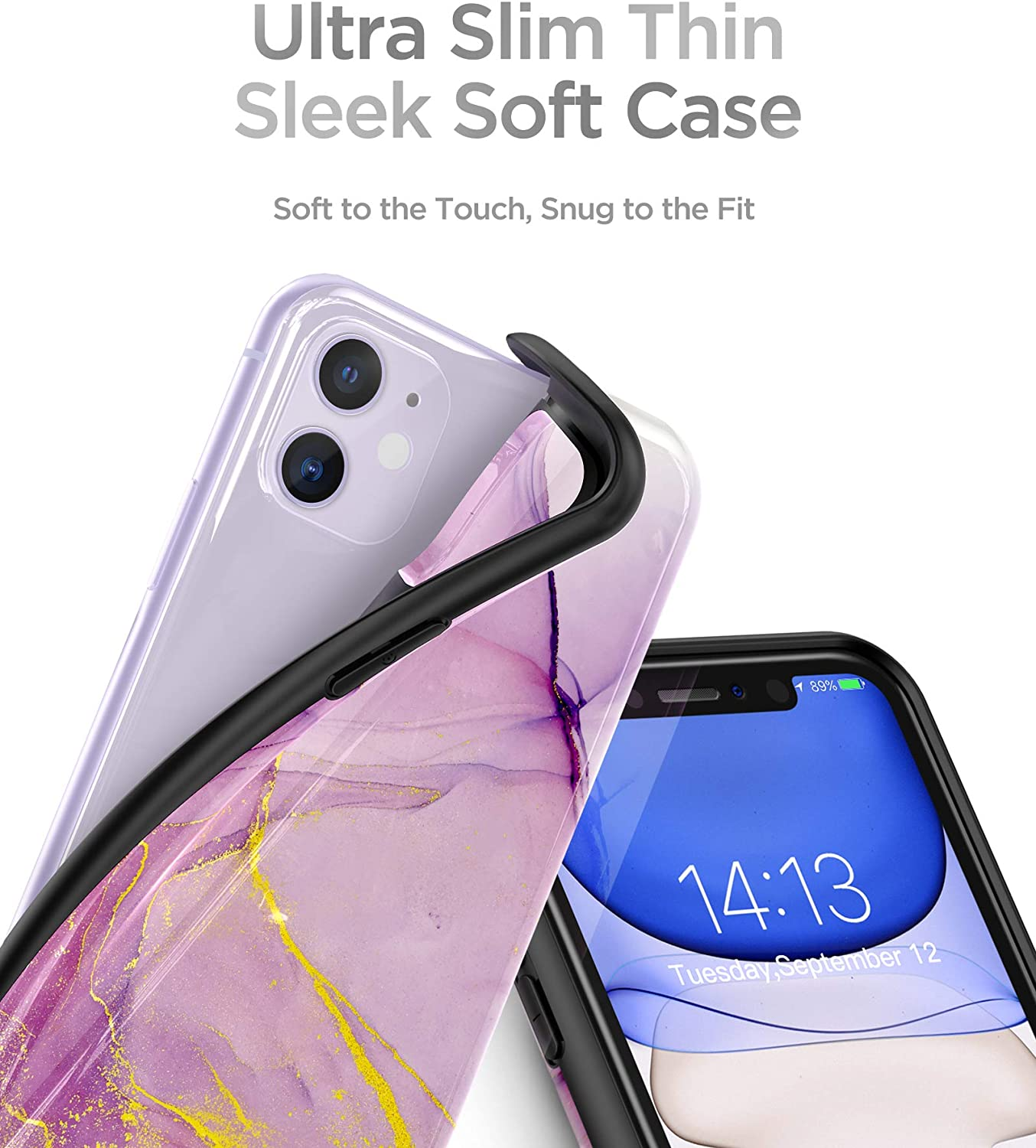 GVIEWIN Marble Compatible with iPhone 11 Case, Ultra Slim Thin Glossy Soft TPU Rubber Gel Phone Case Cover Compatible with iPhone 11 6.1 Inch 2019 (Romantic Purple)