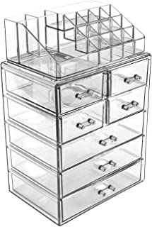Sorbus Acrylic Cosmetic Makeup and Jewelry Storage Case Display - Spacious Design - for Bathroom, Dresser, Vanity and Countertop (3 Large, 4 Small Drawers, Clear)