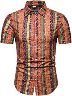 RAINED-Men's Casual Button-Down T Shirts Classic-Fit Tropical Hawaiian Shirts Beach Wear Short Sleeve Basic Aloha Shirt