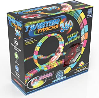Mindscope Twister Tracks Trax 360 Loop 13' (feet) of Neon Glow in The Dark Track with One Light-Up (Pulse LED) Vehicles Sp...