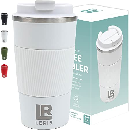 LERIS Stainless Steel Tumbler | 4 Hr Heatwave & 12 Hr Winter | 17oz Anti-Slip, Anti-Tip, Insulated Smoothie & Coffee Travel Mug Tumbler with Lid | Heavy Duty Leak Proof Coffee Cups with Tumblers Lid
