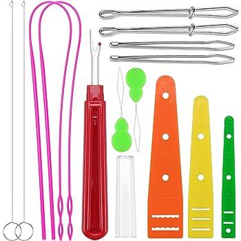 PORPOR BOOYA 12 Pieces Flexible Drawstring Threader Easy Threader Drawstring Replacement Tools Plastic Metal Drawstring Threader Metal Tweezers