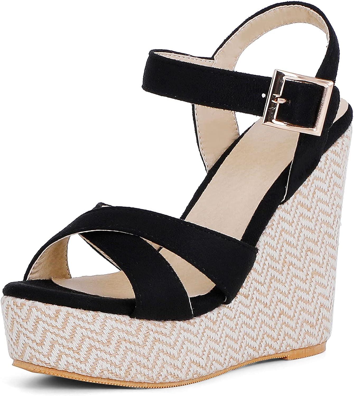 Erocalli Award-winning store Open Toe Wedges Espadrille Sandals for Bo Women shop T Strap