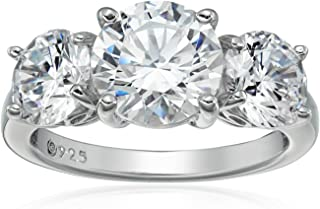 Platinum or Gold Plated Sterling Silver Round 3-Stone Ring made with Swarovski Zirconia