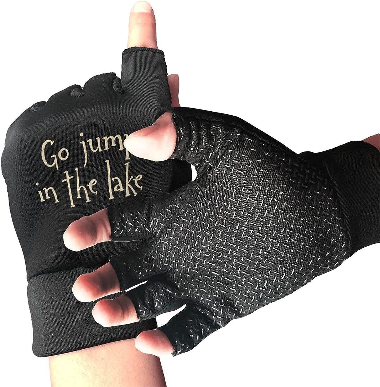 Go Jump In The Lake Non-Slip Driving Gloves Breathable Sunblock Fingerless Gloves For Women Men
