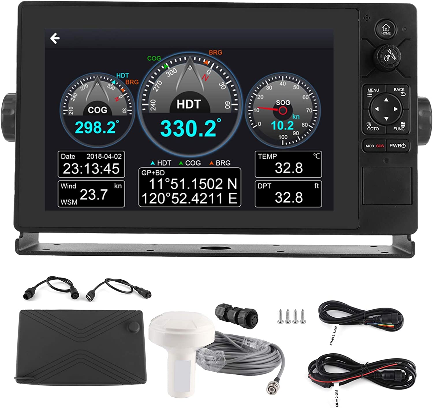 Boat GPS,10.1in 4G/WiFi Marine Color Displayer LCD Touch Screen Class B Transponder Chart Plotter Beidou GPS Dual Mode for Android 5.1 for Marine Navigator, 10.1in 4G/WiFi Marine Displayer LCD T