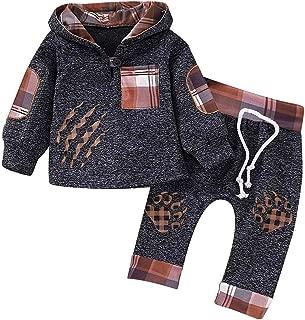 GRNSHTS Baby Boys Girls Sweatshirt Outfits Wild Bear Toddler Long Sleeve Plaid Pocket Hoodie Top+Pants Winter Clothes Set