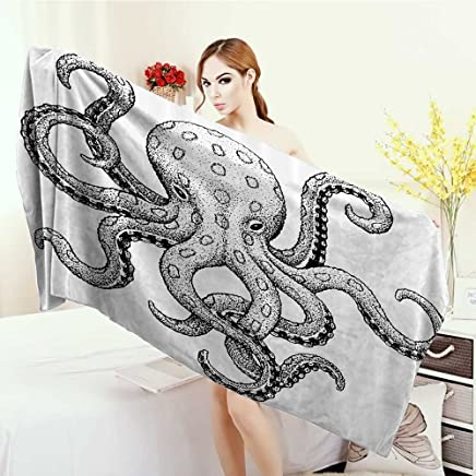 Customized bath Towels Octopus Decor Collection Sketch Style Print of Deadly Blue Ringed Octopus Camouflage Marine