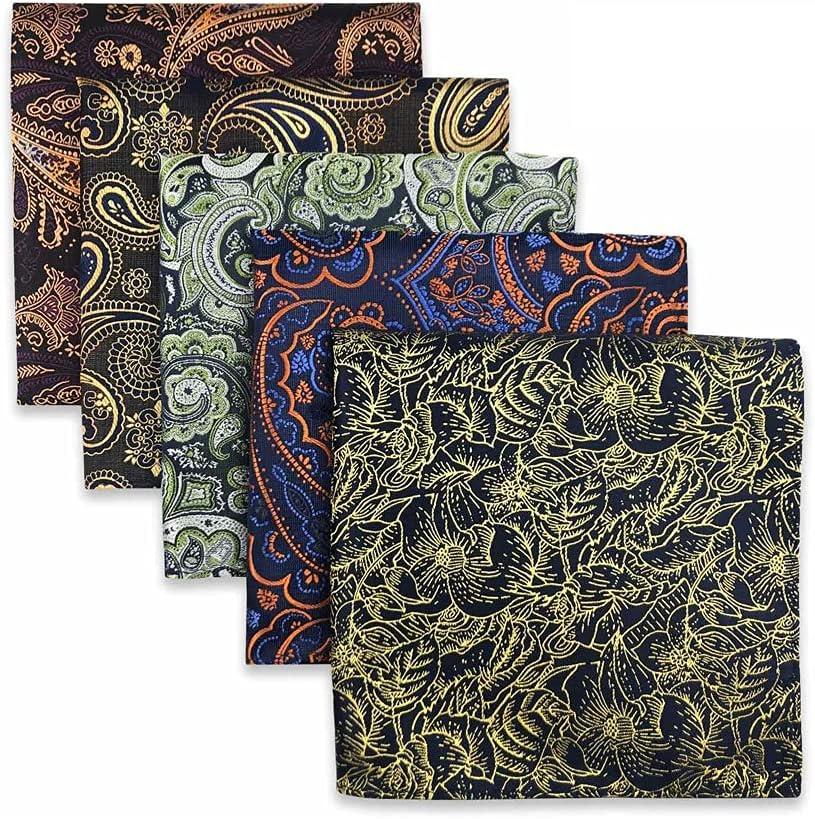 JJZXC 5 Pieces Assorted Mens Pocket Square Silk Handkerchief Set Accessories Gift Party (Color : B, Size : 32x32CM)