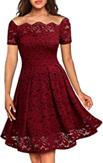 83a01aa6c6 MISSMAY Women s Vintage Floral Lace Boat Neck Cocktail Formal Swing Dress