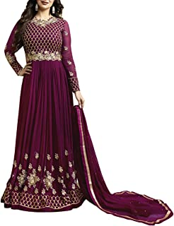 Ethnic Empire Women's Georgette Purple Embroidered Long Semi Stitched Anarkali Salwar Suits(Ethnic_ER10474_purple_Free Size)