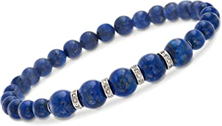 Ross-Simons 6-8mm Lapis Bead Stretch Bracelet With .24 ct. t.w. Diamonds in Sterling Silver For Women 925