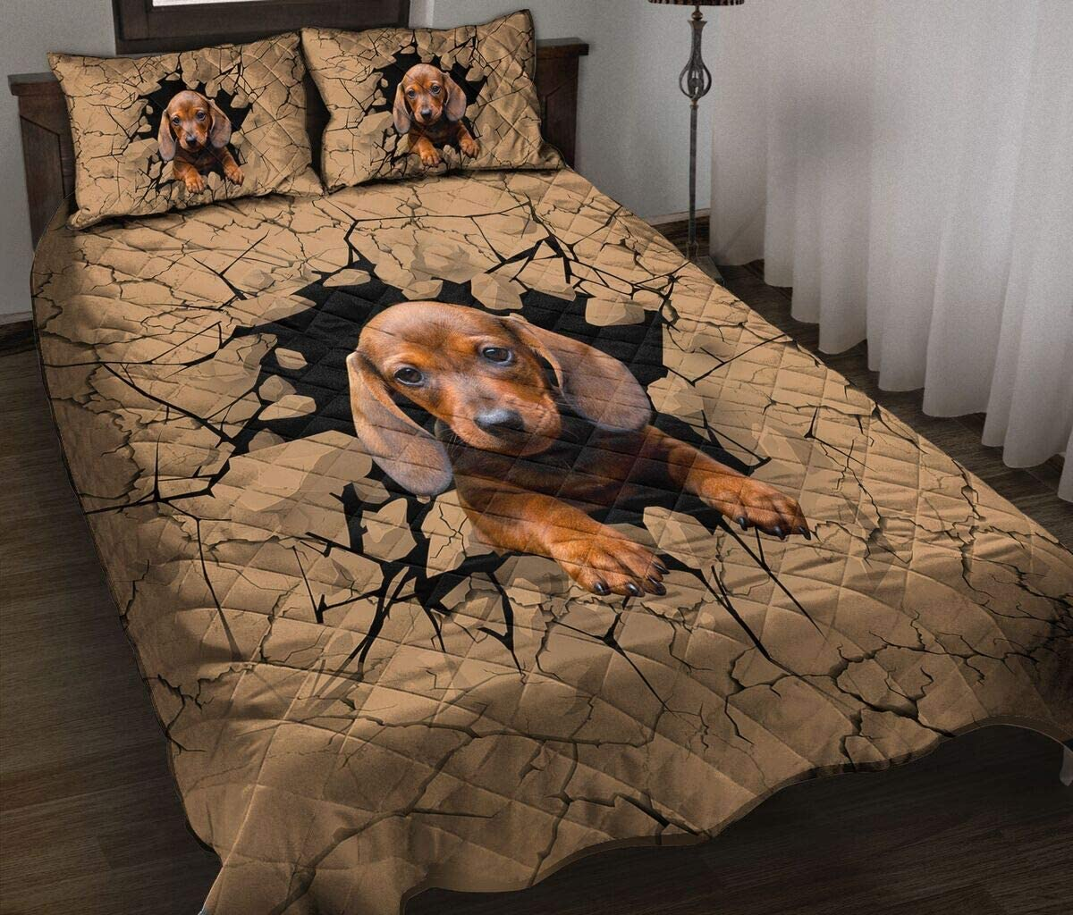Personalized Cute Dachshund Quilt Ranking Over item handling TOP12 Bedding Twin Set Th Queen King